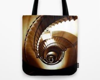 Tote Bag - Fabric - Spiral Dreams - Lighthouse Nautical Ocean Staircase - Market Bag - Book Bag - Photography - 13x13 / 16x16 / 18x18