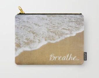Mini Purse Pouch Accessory Bag - Breathe Print - Beach Coastal Nautical Stationary Makeup Cosmetic