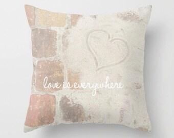 Throw Pillow - Love is Everywhere - Ocean Beach Nautical Coastal - Travel Vacation Adventure - Bedroom Sofa Home Decor