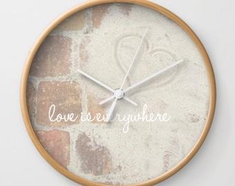 Wall Clock - Love is Everywhere - Beach Nautical - Home Decor - Ocean Sand Adventure - Photograph - Wall Art - Black / White / Natural Wood