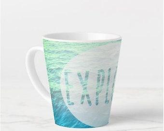 Mug - Explore Quote - Ocean Waves Beach Nautical Coastal Seaside - Summer - Ceramic Coffee Tea Latte 11oz / 15oz