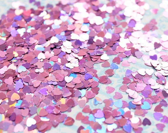 5 grams - 3mm Pink Heart Glitter, Pink Heart Glitter, Glitter, Assorted Colors, Glitter Confetti, Confetti, Kawaii, Resin Glitter