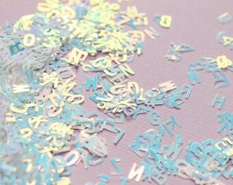 5 grams - 5mm White Holographic Alphabet Glitter, White Glitter, Glitter, Letter Glitter, Glitter Confetti, Confetti, Kawaii, Resin Glitter