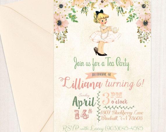 Vintage Tea Party Customizable Birthday Invitations, Cute Birthday, Girl Birthday Invitations, Tea Party, Printable Invitations 044