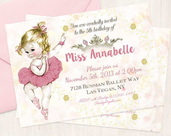 Vintage Ballet Customizable Birthday Invitations, Customize, Girl Birthday Invitations, Ballet Birthday, Printable Invitations, Ballet 043