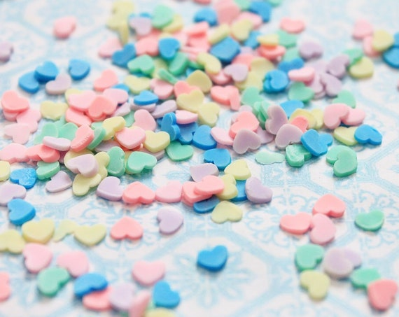10 grams - 4mm Pastel Heart Confetti, Polymer Clay Confetti, Glitter, Assorted Colors, Glitter Confetti, Confetti, Kawaii, Resin Glitter