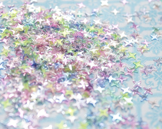 5 grams - 4mm Rainbow Twilight Glitter, Star Glitter, Glitter, Pink, Green, Purple, Blue, Glitter Confetti, Confetti, Kawaii, Resin Glitter