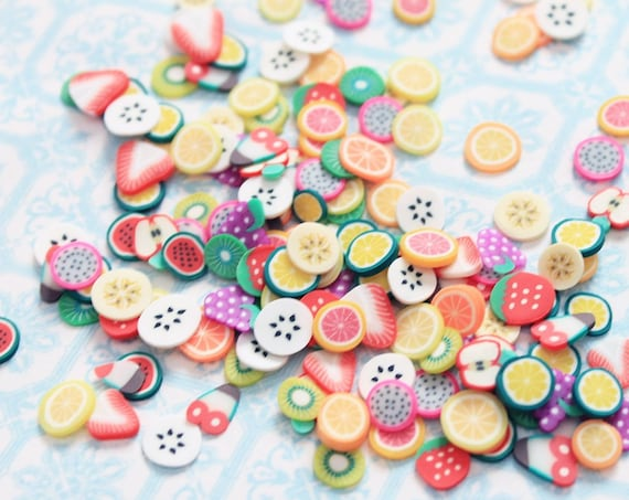 10 grams - 3-6mm Fruit Slices, Fruit Confetti, Polymer Clay Confetti, Glitter, Assorted Colors, Glitter Confetti, Confetti, Kawaii, Clay