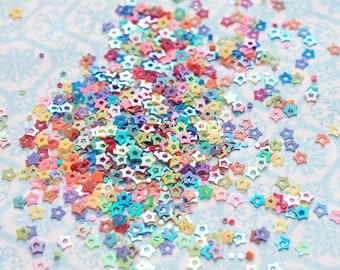 5 grams - 3mm Hollow Star Glitter, Rainbow Star Glitter, Glitter, Pink, Purple, Blue, Glitter Confetti, Confetti, Kawaii, Resin Glitter