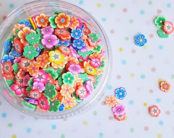 10 grams -5mm Flower Slices, Flower Confetti, Polymer Clay Confetti, Glitter, Assorted Colors, Glitter Confetti, Confetti, Kawaii, Clay