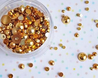 10 grams- 2mm - 10mm Gold Round Flatback Pearls, Flatback Pearls, Acrylic Pearls, Loose Rhinestones, Pearl Confetti, Confetti