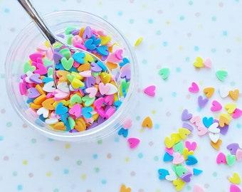10 grams - 4mm Rainbow Heart Confetti, Polymer Clay Confetti, Glitter, Assorted Colors, Glitter Confetti, Confetti, Kawaii, Resin Glitter