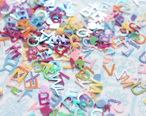 5 grams - 6mm Assorted Colors Alphabet Glitter, Pastel Glitter, Glitter, Letter Glitter, Glitter Confetti, Confetti, Kawaii, Resin Glitter
