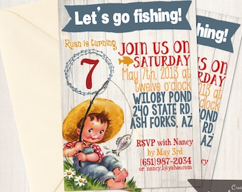 Vintage Fishing Customizable Birthday Invitations, Boy Birthday Invitations, Fishing birthday party, Printable Invitations 075