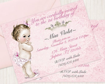 Vintage Baby Girl Customizable Birthday Invitations, Customize, Girl Birthday Invitations, First Birthday, Printable Invitations, Baby Girl