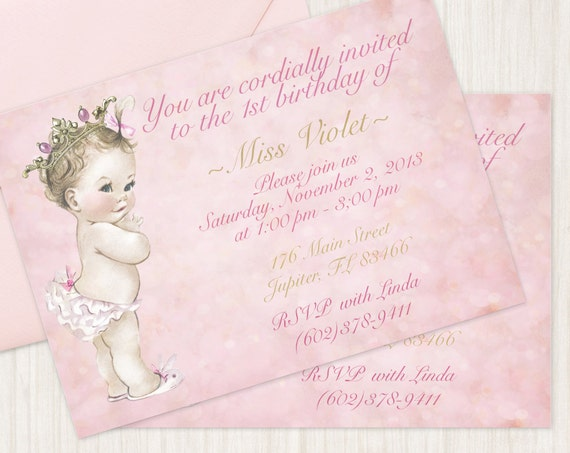 Vintage Baby Girl Customizable Birthday Invitations, Customize, Girl Birthday Invitations, First Birthday, Printable Invitations, Princess