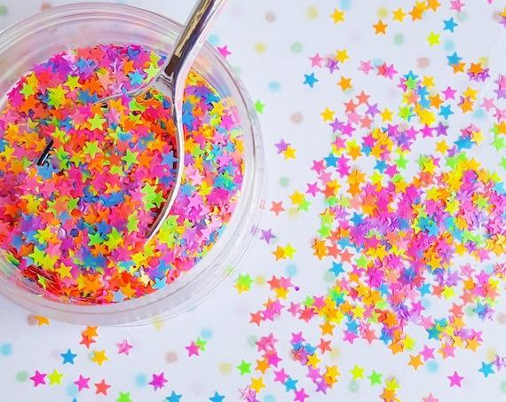 5 grams - 3mm Neon Star Glitter, Star Glitter, Glitter, Neon, Glitter Confetti, Confetti, Kawaii, Resin Glitter