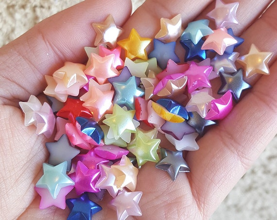 100 PCS- 10mm Star Flatback Pearls, Flatback Pearls, Acrylic Pearls, Loose Rhinestones, Star Confetti, Confetti, Pastel, Rainbow