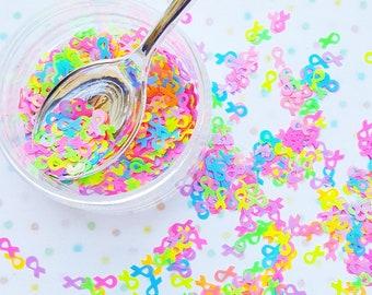 5 grams - 6mm Assorted Neon Awareness Ribbon Shape Glitter, Neon, Glitter, Neon Glitter Confetti, Confetti, Kawaii, Resin Glitter