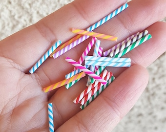 20PCS - 25mm Clay Straws, Candy Cane Polymer Clay, Polymer Clay Confetti, Clay Embellishment, Assorted Colors, Decoden, Kawaii, Clay