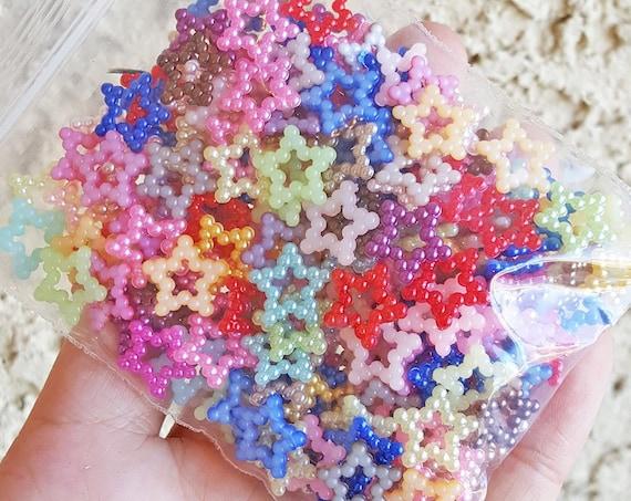100 PCS- 12mm Hollow Star Flatback Pearls, Flatback Pearls, Acrylic Pearls, Loose Rhinestones, Star Confetti, Confetti, Pastel, Rainbow