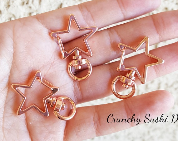 10 PCS - Rose Gold Star Key Rings, Star Key Chains, Star Clasp, Kawaii, Star Lobster Swivel Clasps, Swivel Key Ring