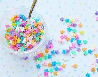 10 grams - 4mm Rainbow Star Confetti, Polymer Clay Confetti, Glitter, Assorted Colors, Glitter Confetti, Confetti, Kawaii, Resin Glitter