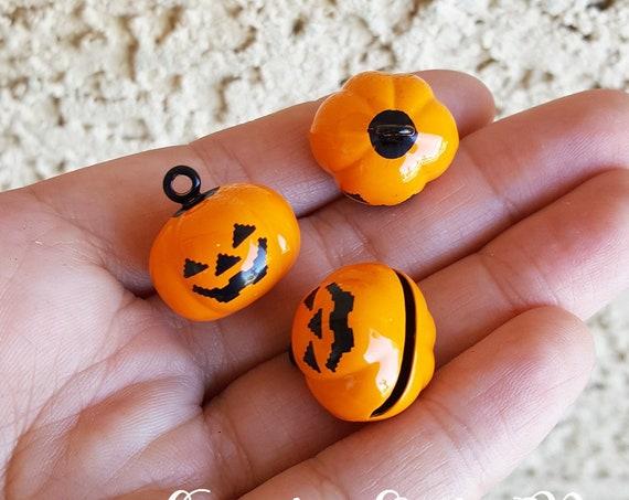 4 PCS - 19mm Mini Jack-o-lantern Jingle Bells, Pumpkin, Halloween Jingle Bells, Halloween Charm, Jingle Bell, Charm Bells, Kawaii, Charm