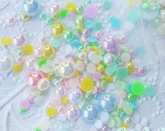 500 PCS- 3mm - 12mm Pastel Flatback Pearls, Flatback Pearls, Acrylic Pearls, Loose Rhinestones, Pearl Confetti, Confetti, Pastel, Rainbow