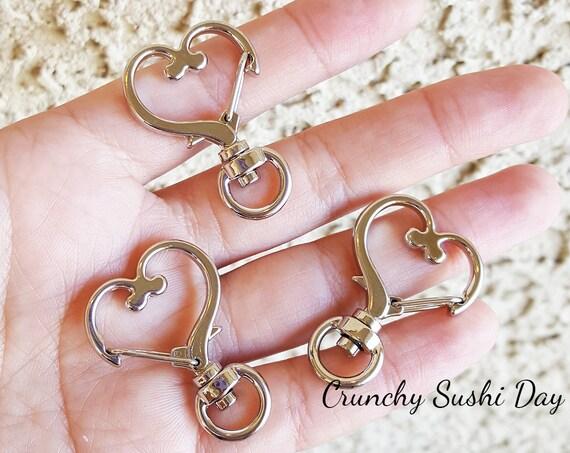 10 PCS - Silver Heart Key Rings, Heart Key Chains, Heart Clasp, Kawaii, Heart Lobster Swivel Clasps, Swivel Key Ring