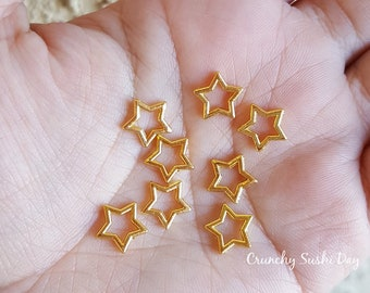 10pcs - 10mm Gold Hollow Star Metal Charms, Space Metal Charm, Decoden, Cabochon, Metal, Confetti, Confetti, Kawaii, Resin Embellishments