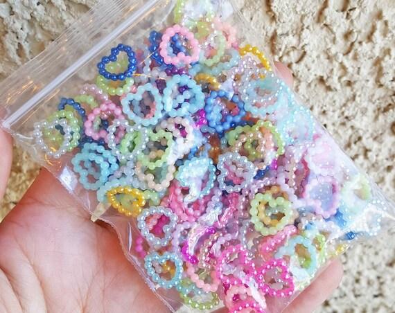 100 PCS- 11mm Hollow Heart Flatback Pearls, Flatback Pearls, Acrylic Pearls, Loose Rhinestones, Star Confetti, Confetti, Pastel, Rainbow
