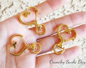 10 PCS - Gold Heart Key Rings, Heart Key Chains, Heart Clasp, Kawaii, Heart Lobster Swivel Clasps, Swivel Key Ring