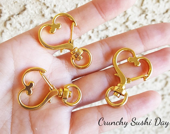 10 PCS - Gold Heart Key Rings, Heart Key Chains, Heart Clasp, Kawaii, Heart Lobster Swivel Clasps, Swivel Key Ring