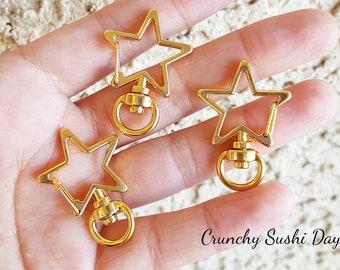 10 PCS - Gold Star Key Rings, Star Key Chains, Star Clasp, Kawaii, Star Lobster Swivel Clasps, Swivel Key Ring