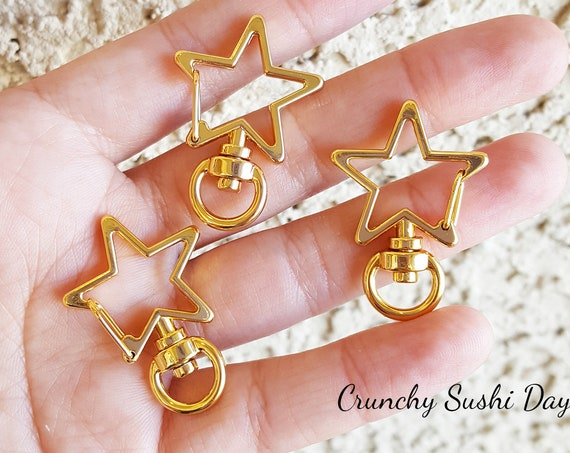 10 PCS - Gold Star Key Rings, Star Key Chains, Star Clasp, Kawaii, Star Lobster Swivel Clasps, Swivel Key Ring