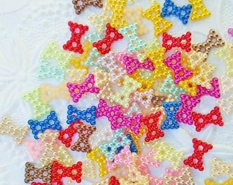 100 PCS- 12mm Hollow Bow Flatback Pearls, Flatback Pearls, Acrylic Pearls, Loose Rhinestones, Star Confetti, Confetti, Pastel, Rainbow