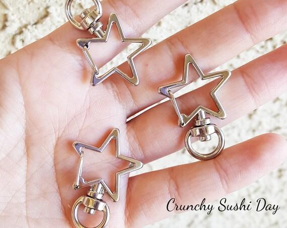 10 PCS - Silver Star Key Rings, Star Key Chains, Star Clasp, Kawaii, Star Lobster Swivel Clasps, Swivel Key Ring
