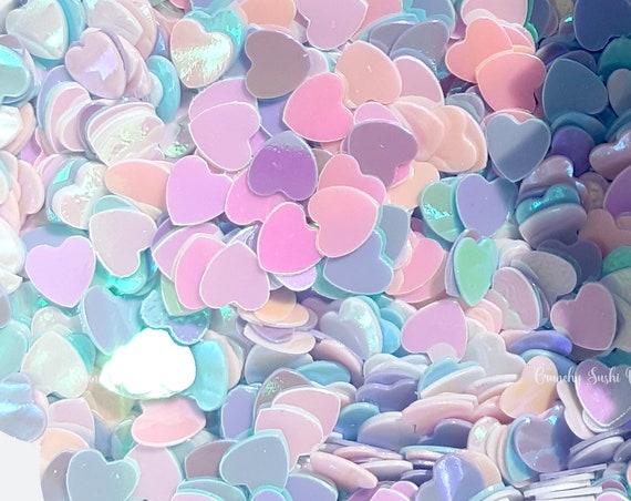 5 grams - 4mm Pastel Heart Glitter, Heart Glitter, Glitter, Pink, Purple, Blue, Glitter Confetti, Confetti, Kawaii, Resin Glitter