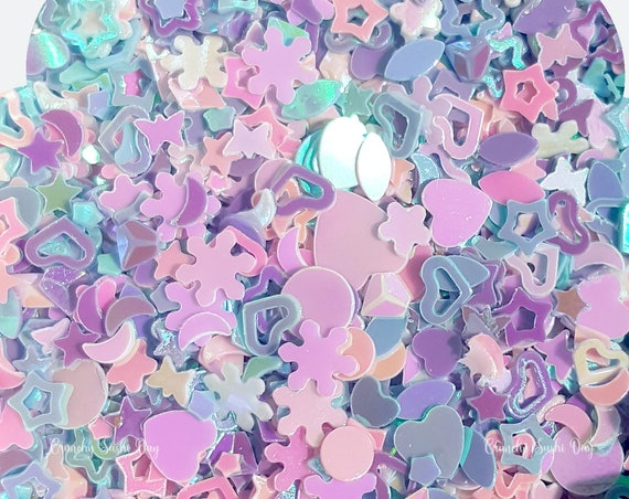 5 grams - 3-6mm  Assorted Glitter, Pastel Glitter, Glitter, Pink, Purple, Blue, Glitter Confetti, Confetti, Kawaii, Resin Glitter
