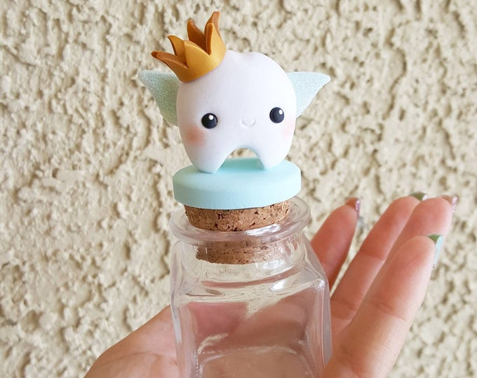 Featured listing image: Customizable Crown Tooth Fairy Box, Tooth Fairy Jar, Tooth Fairy Keepsake, First Tooth, Tooth Fairy, Trinket Box, Keepsake, Polymer Clay