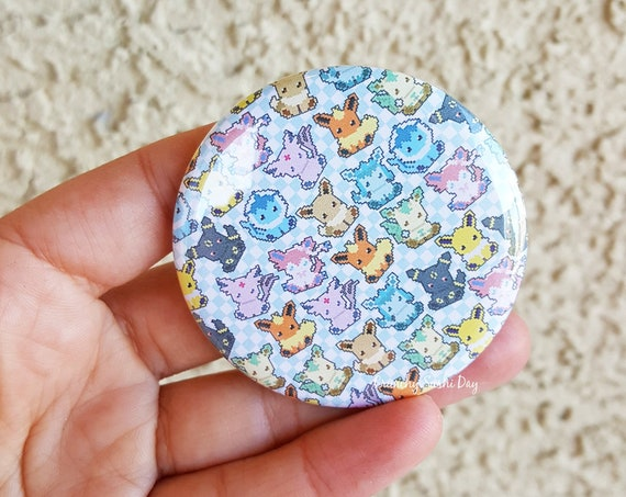"Fandom 2.25"" Eevee Pinback Button, Geek Button, Geekery, Button, Kawaii Button, Badges, Flare"