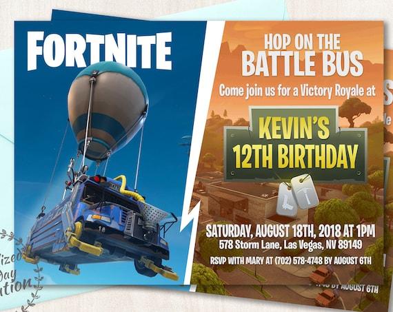 Fortnite Birthday Party Invitations, Boy Birthday Invitations, Video Game, Customizable, birthday party, XBOX, Printable Invitations, 080