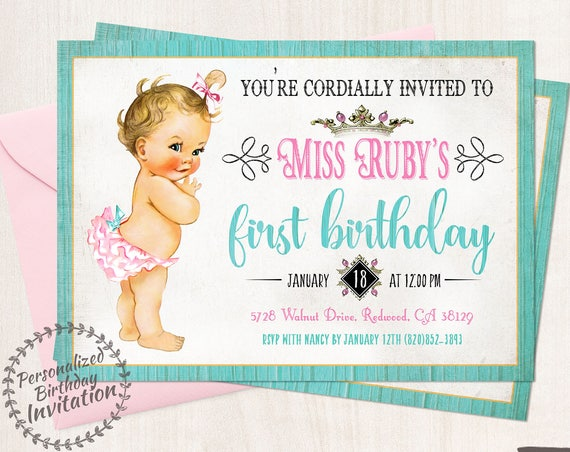 Vintage Baby Girl First Birthday Invitations, Rustic, Girl Birthday Invitations, First Birthday Party, Printable Invitations, Baby Girl 103