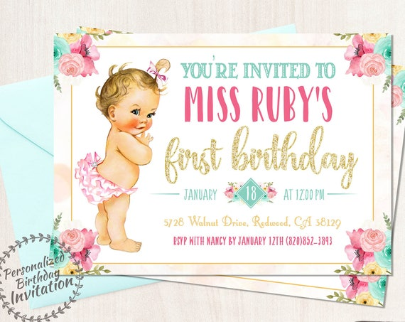 Vintage Baby Girl First Birthday Invitations, Customizable, Girl Birthday Invitations, First Birthday, Printable Invitations, Baby Girl 101