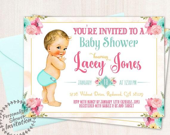 Vintage Baby Boy Baby Shower Invitations, Baby Shower Invitations, Printable Invitations, Baby Boy, Blonde, Teal, Pink, Floral 001