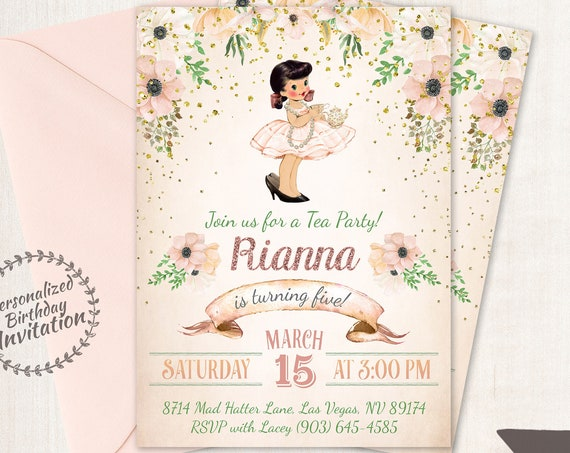 Vintage Tea Party Customizable Birthday Invitations, Cute Birthday, Girl Birthday Invitations, Tea Party Birthday, Printable Invitations 044