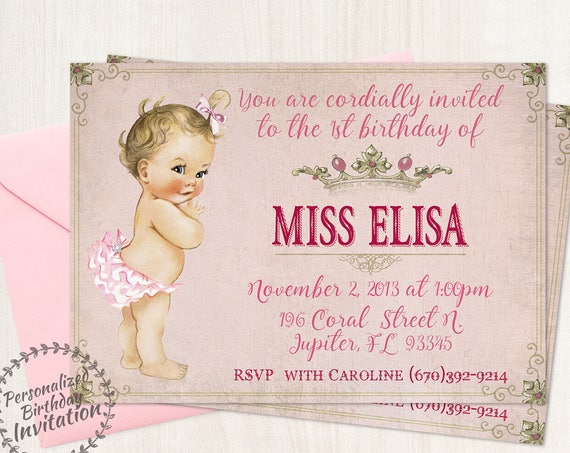 Vintage Baby Girl First Birthday Party Invitations, Crown, Pink, Girl Birthday Invitations, First Birthday, Printable Invitations, 106