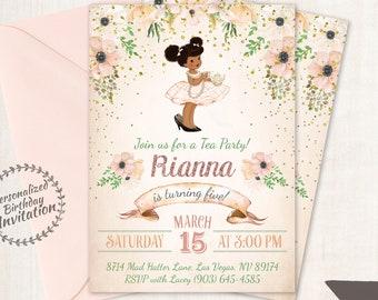Vintage Tea Party Birthday Invitations, Cute Birthday, Girl Birthday Invitations, Tea Party, Printable Invitation, African American 045