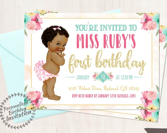 Vintage Baby Girl First Birthday Invitations, African, Black, Girl Birthday Invitation, First Birthday, Printable Invitations, Baby Girl 101